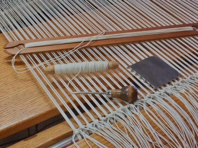 Tools for weaving the heading on the  basse-lice  loom. photo credit: Elizabeth J. Buckley © 2019