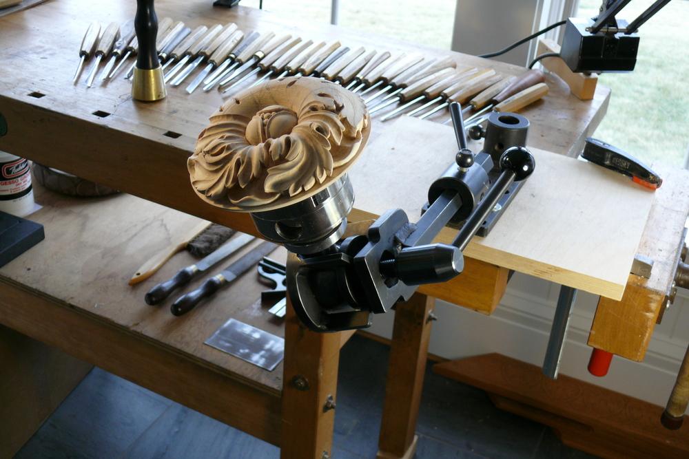 Rosette in linden wood