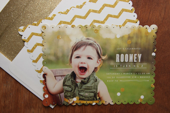 rooney's golden birthday party invitations  snappy casual, Birthday invitations