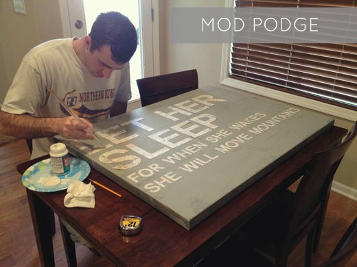 Mod Podge Over Painted Canvas