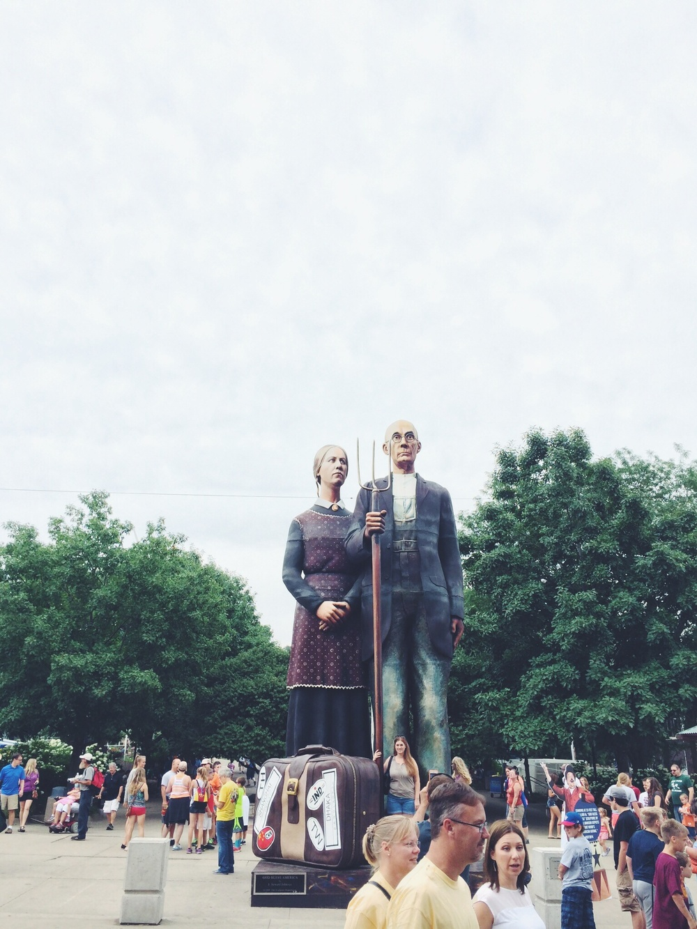 """This 25-foot tall """"American Gothic"""" replica sculpture was new this year."""