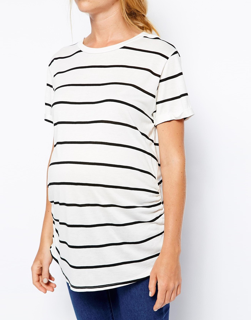 ASOS striped T-shirt :  I  love  this shirt! It did shrink up after washing, so I don't think it fits over my belly anymore, but I lived in it for the first couple months ( worn here ).