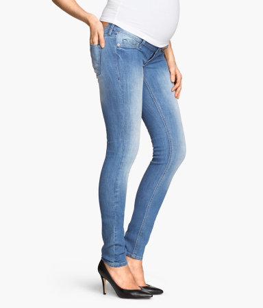 H&M MAMA skinny jeans (  similar  ):    I'm borrowing a pair of H&M MAMA jeans from a friend ( worn here ), and they are fantastic! The full panel is not too tight like some other pants I've tried, and they are very slimming through the legs.