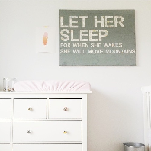 Diy nursery art let her sleep snappy casual ive been getting a lot of questions about where we bought the canvas in rooneys nursery truth is its diy nursery art solutioingenieria Image collections