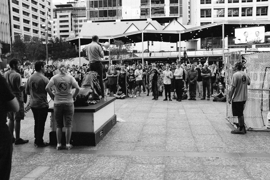 Protest happening at King George Square, Brisbane. Didn't notice what it was about, though.