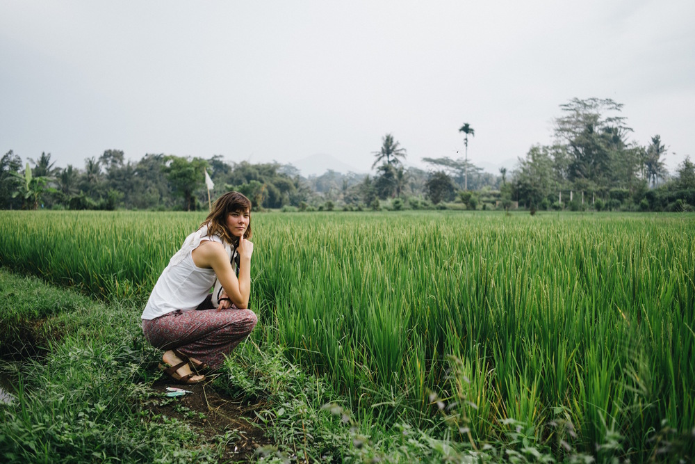 Exploring the rice fields near our first stay in Ubud. The peak in the distance is Gunung (Mount) Batukaru, north west of Ubud.