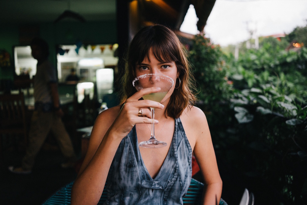 Hannah enjoying a Margarita.