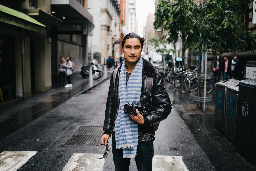 Melbourne street portrait of Remy Hii, Marco Polo's Jingim Khan.