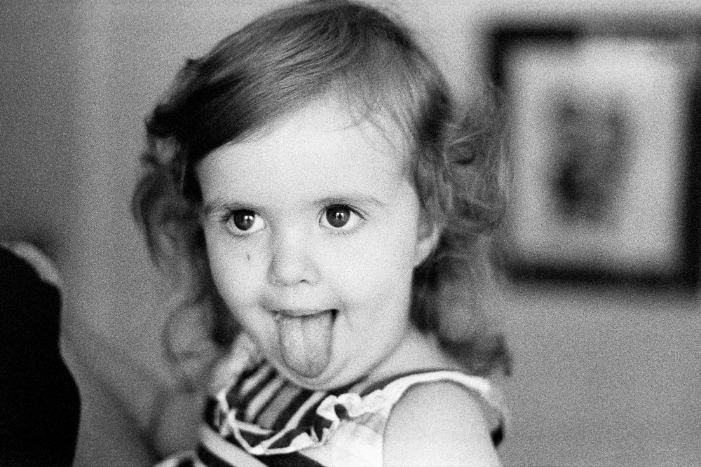 Hannah doing her best Einstein. TRI-X.