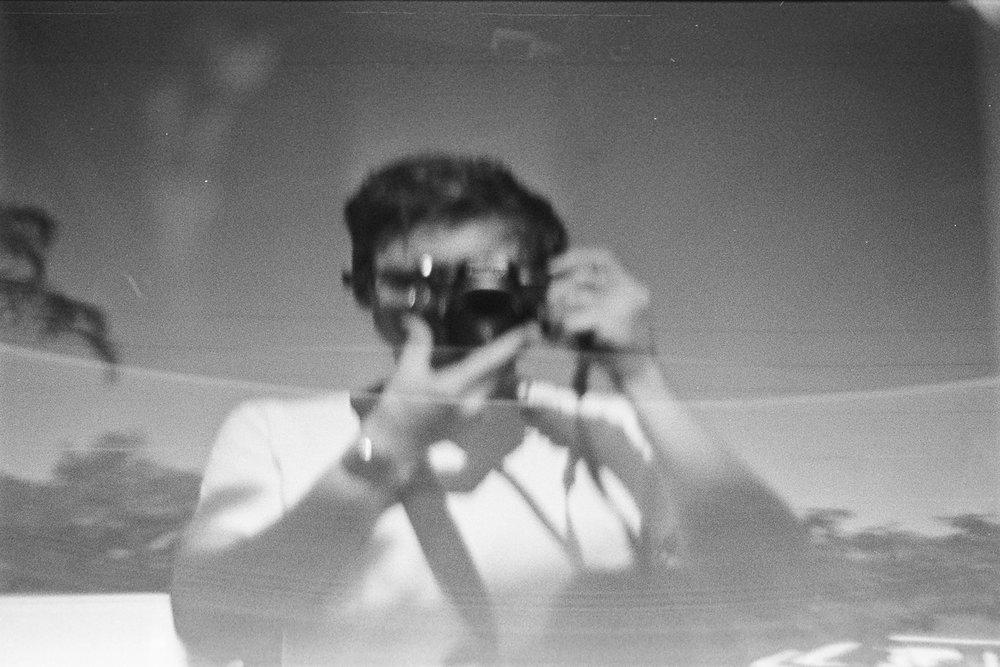 Car window selfie.
