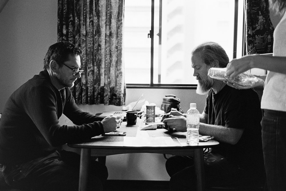 Rob and Simon and the dinner table, Ryogoku.