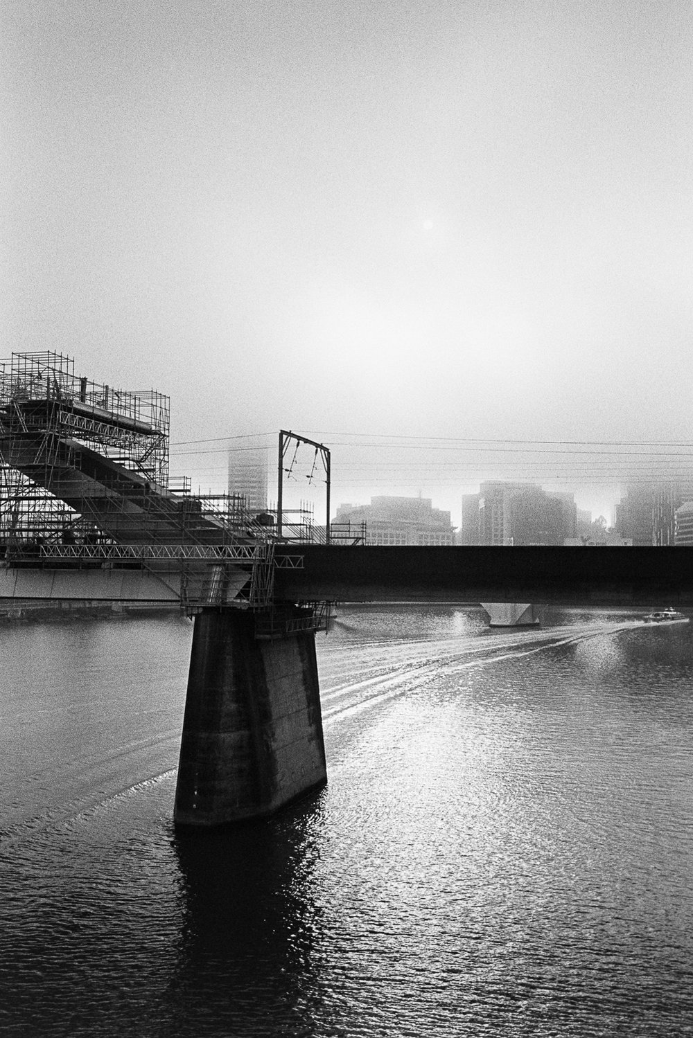 Foggy morning over the Brisbane River.