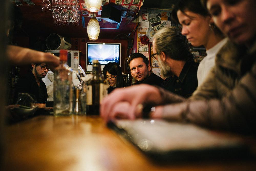 Bar Araku, Shinjuku for a very squashed up drink.