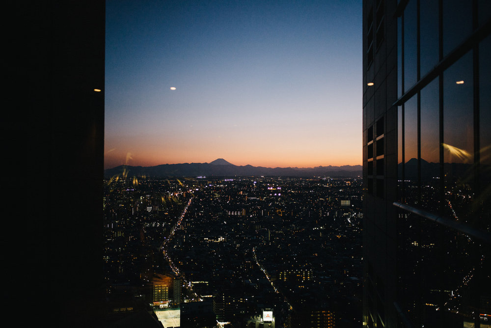 We treated ourselves to a cocktail at the New York Bar in the Park Hyatt Hotel in Shinjuku. That's Mount Fuji in the distance.