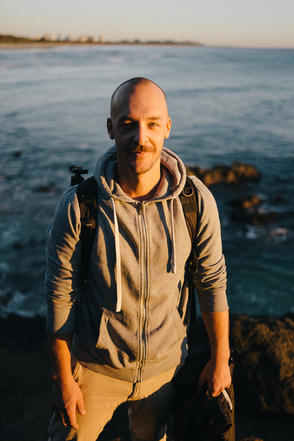 Sunrise portrait of Justin, who was more enthusiastic about cliff hopping than I.