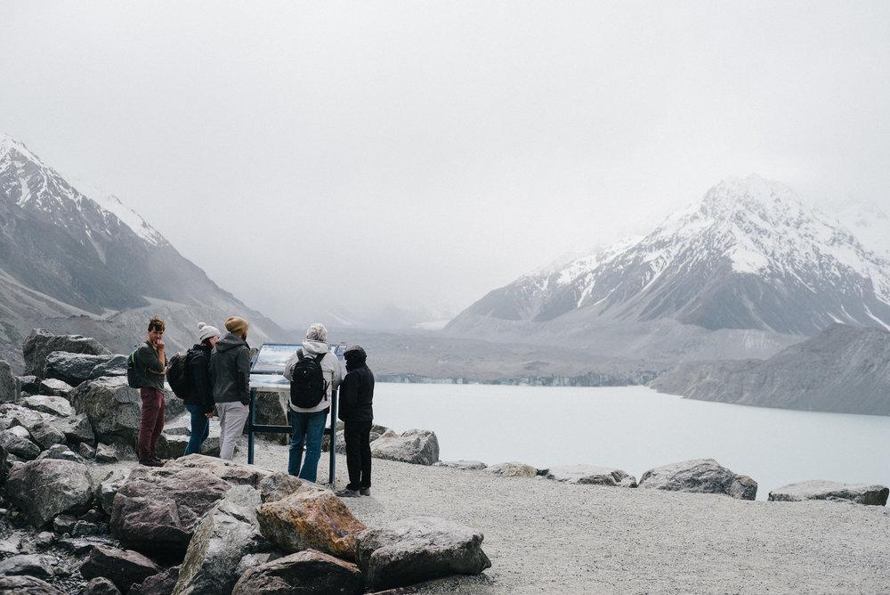 Tasman Glacier and Blue Lake in Mount Cook National Park