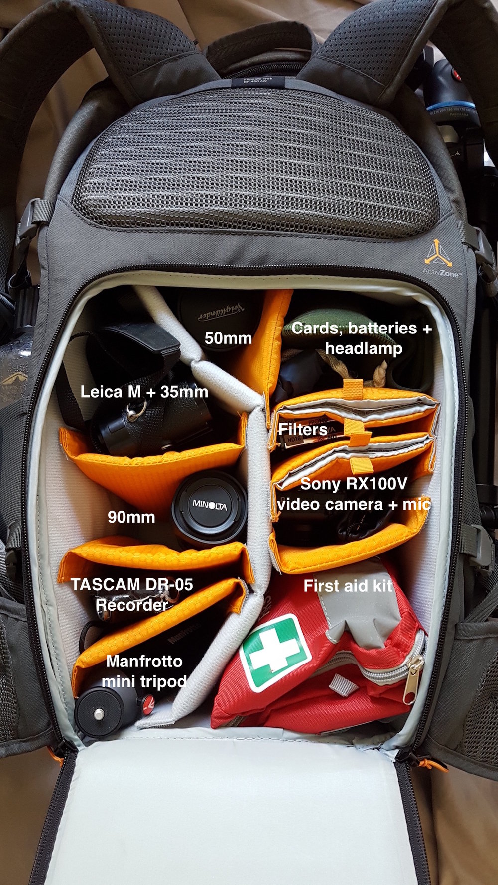 LowePro Flipside Trek 450 AW, Inside Layout, Hiking, Camera Backpack, Gear, Manfrotto Befree Tripod, Water Bottle, Trekking, Travel, MacBook Retina.jpg