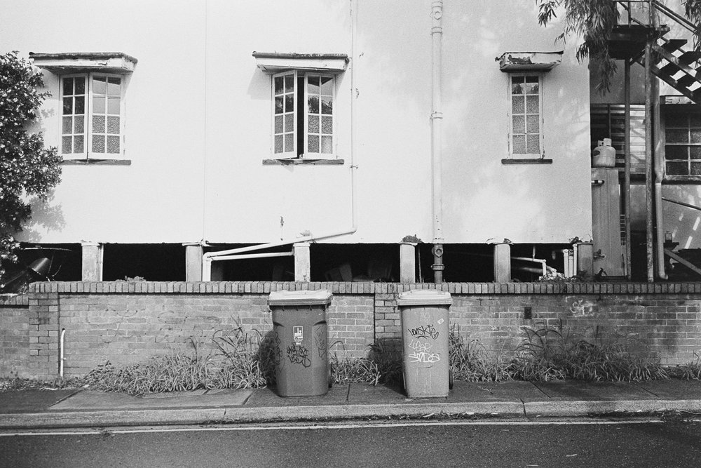 A Tale Of Two Bins, West End 2018. Leica M7 with 35mm Voigtländer F1.7 on Kodak TRI-X 400 film.