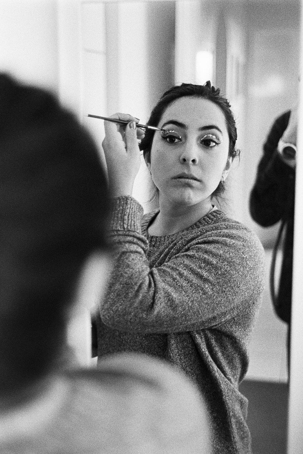 Carolina doing make up before our final acting class.