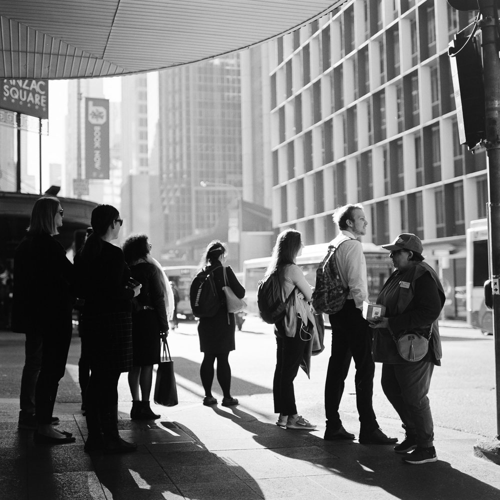 Fast moving street photography on the Rolleiflex is less than practical.