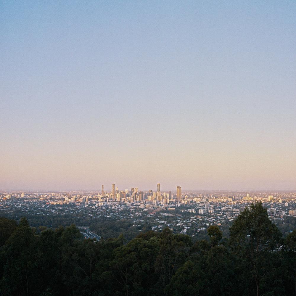 Brisbane City on Kodak Portra 400 at sunset. Rolleiflex 2.8D.