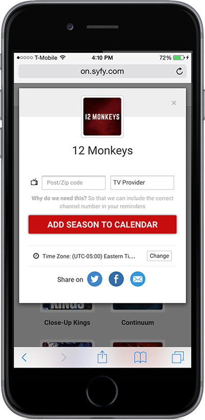 Viewers can click individual calendars and subscribe to receive reminders.
