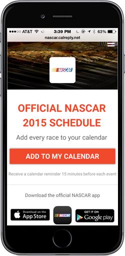 Official NASCAR Calendar page