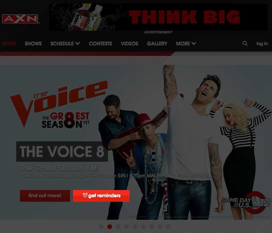 Get Reminders button on axn-asia.com front page carousel (axn-asia.com)