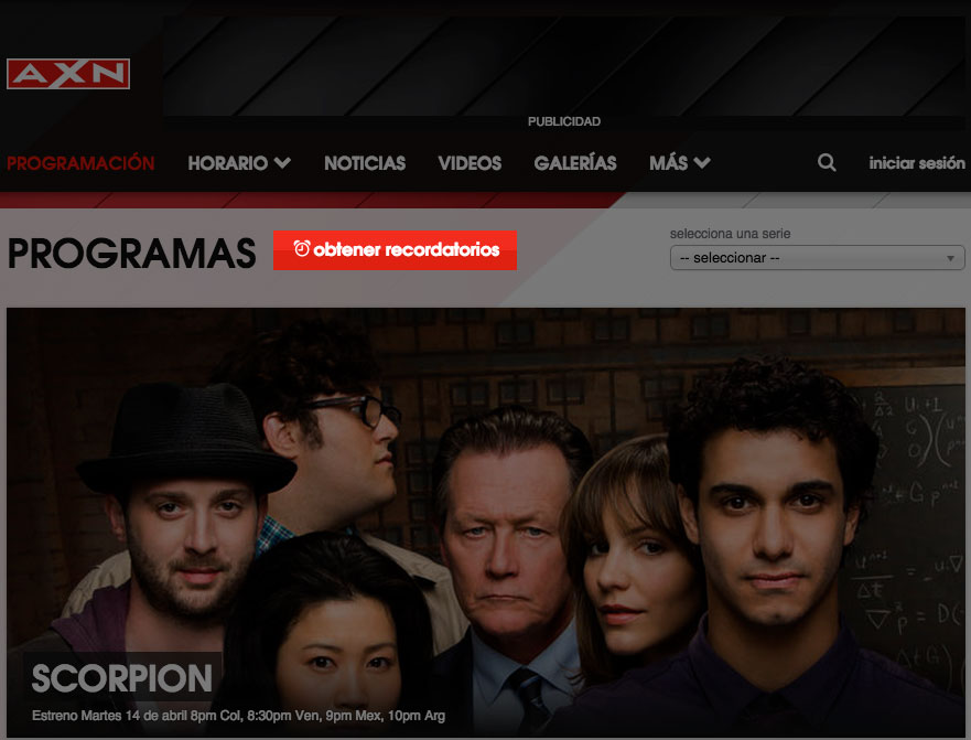 Set Reminder button in Spanish on AXN Latin America