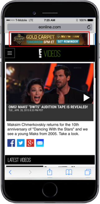 Example of paid endemic banner ad running on E! Online website