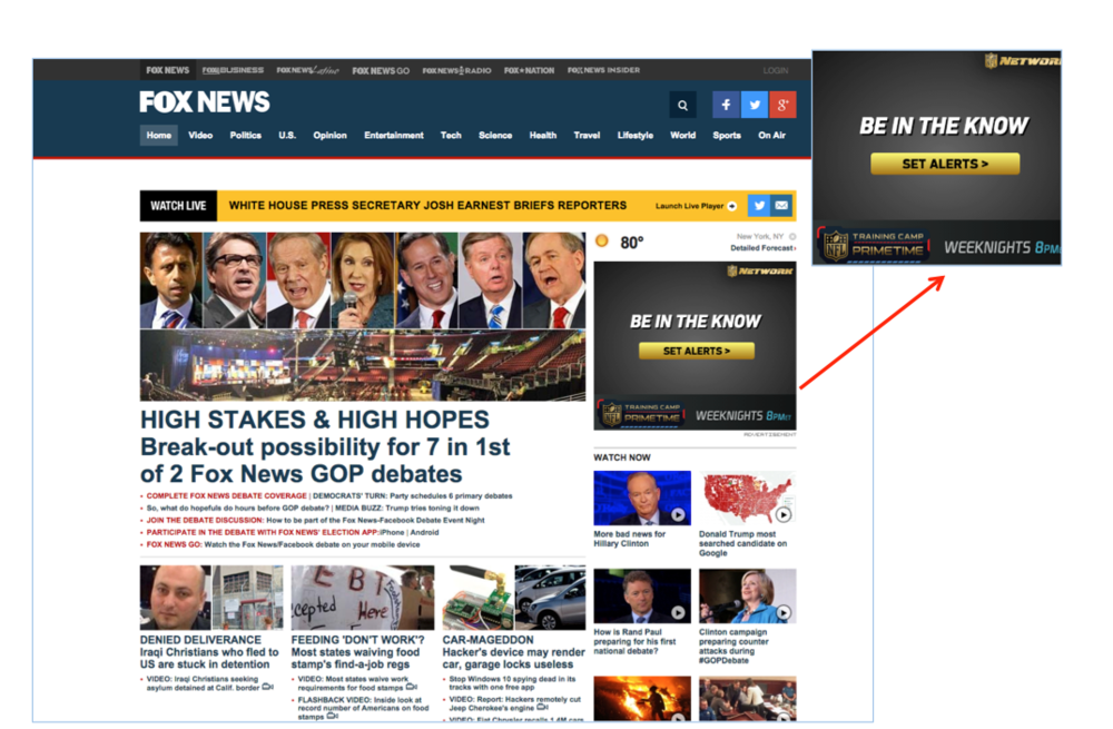 NFL Network Flipboard Banner running on Fox News website