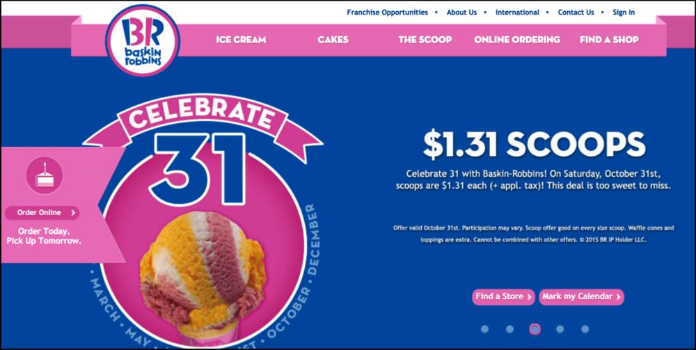 """Mark My Calendar"" Button on Baskin Robbins website."