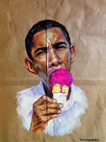 Brown Paper Bag Test with Obama  ©2014 Beth Consetta Rubel