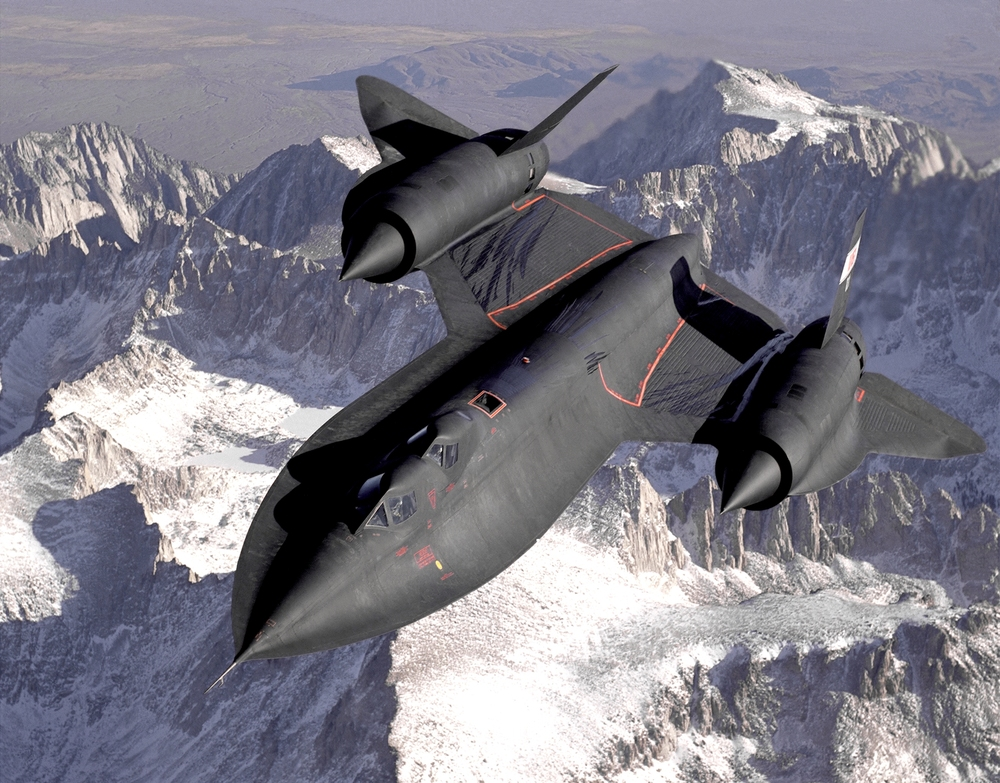 SR-71B overflying the Sierra Nevada mountain range. Image courtesy NASA