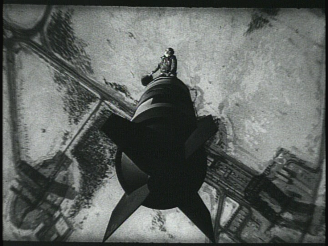 An iconic scene from the 1964 black comedy  Dr. Strangelove or: How I Learned to Stop Worrying and Love the Bomb.