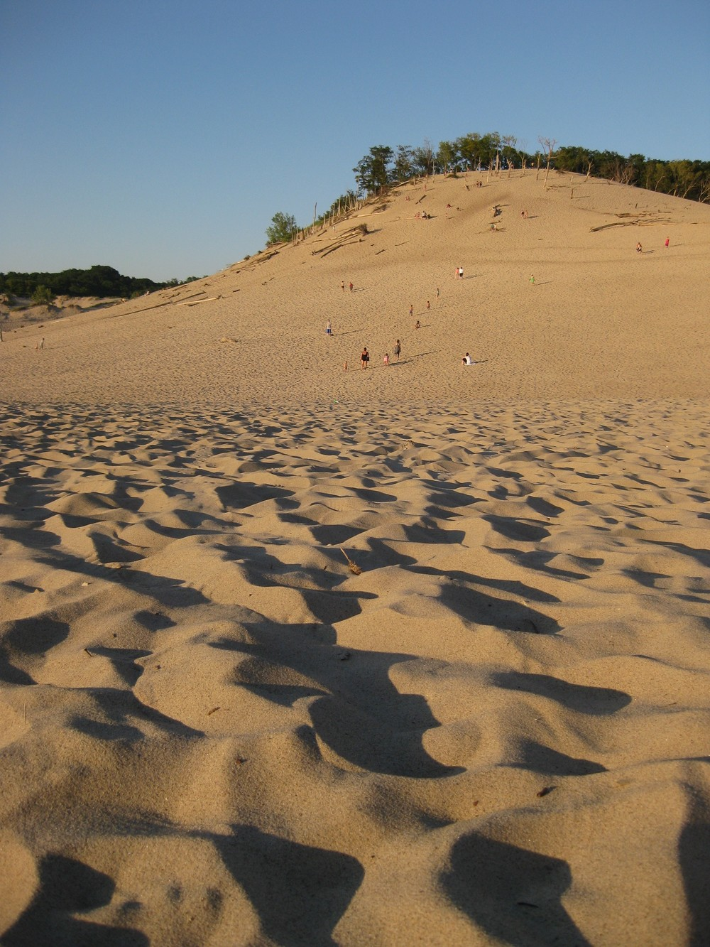 Starting the climb up the dune