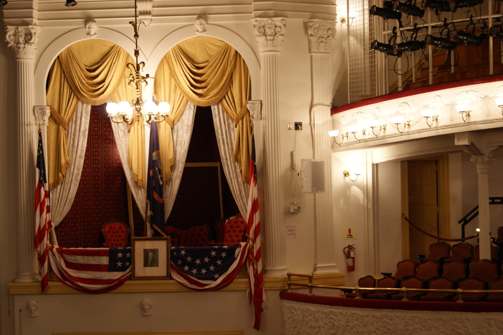 Inside the theater, looking into Lincoln's box seat