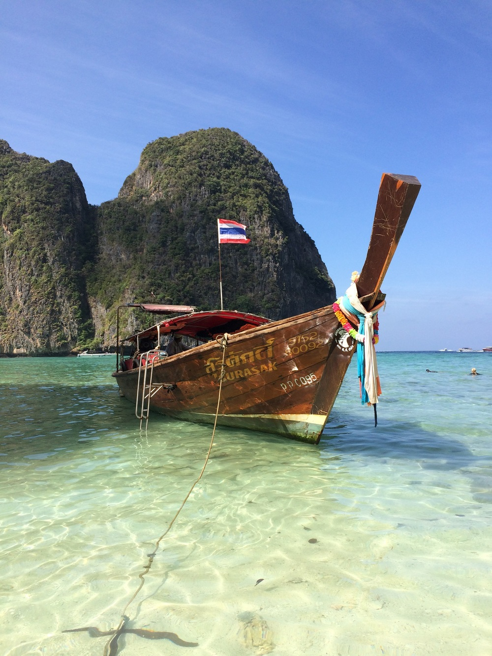 Docked the boat off of Koh Phi Phi Ley