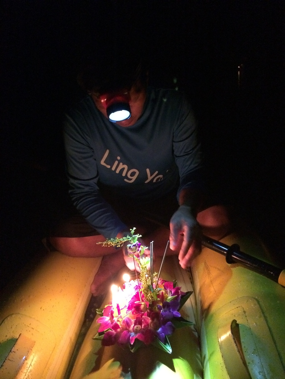 Lighting the kratong and setting it free