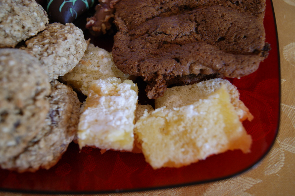 Glenn's lemon bars & my heart healthy oatmeal chocolate chip cookies