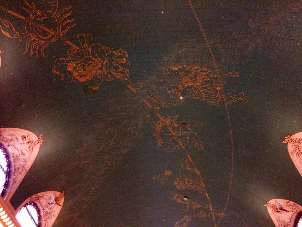 Ceiling of Grand Central Terminal - can you find the dark spot left behind by preservationists?