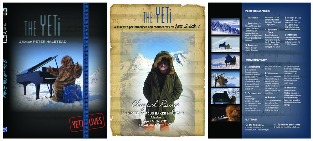 DVD packaging for a filmed musical performance by Peter Halstead on the top of Marcus Baker Mountain in Alaska.
