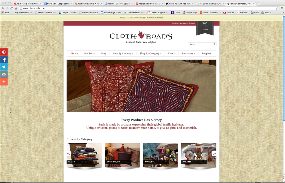 Web template for an online retailer of hand-made, global textiles.