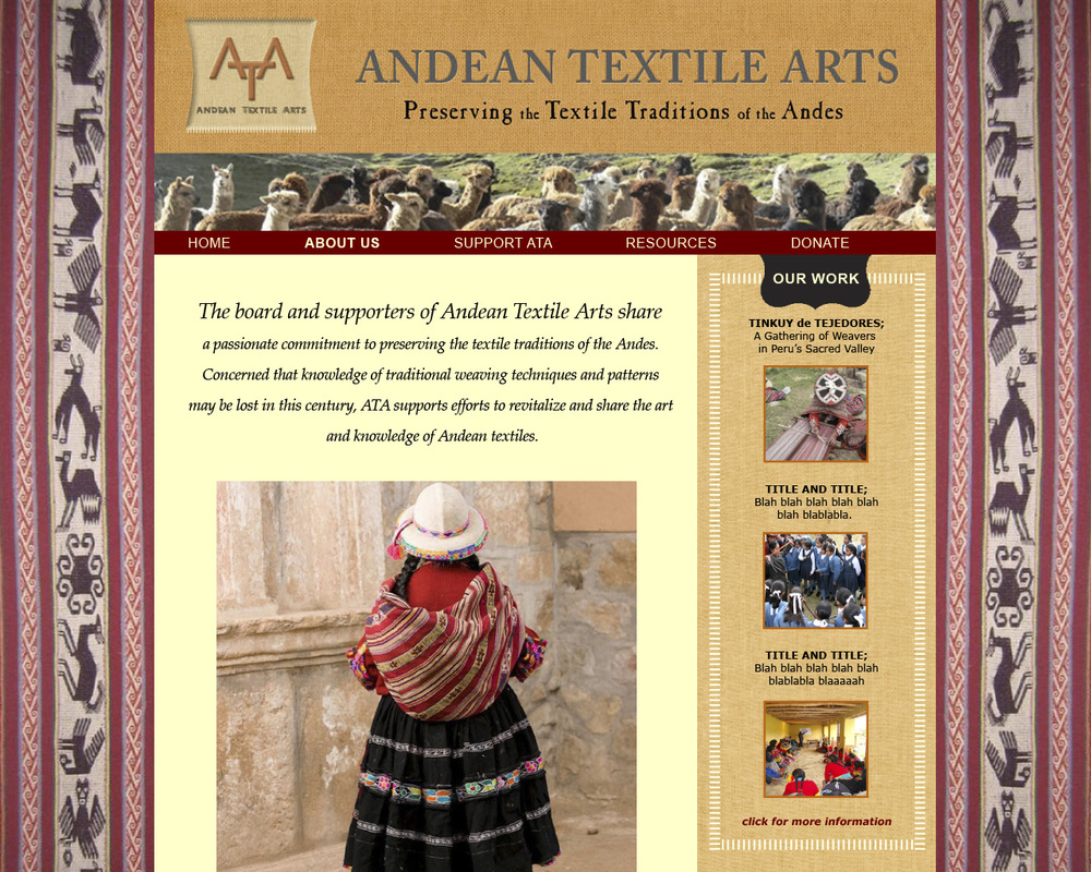 Web template for a non-profit organization working to preserve and revitalize Andean weaving traditions.