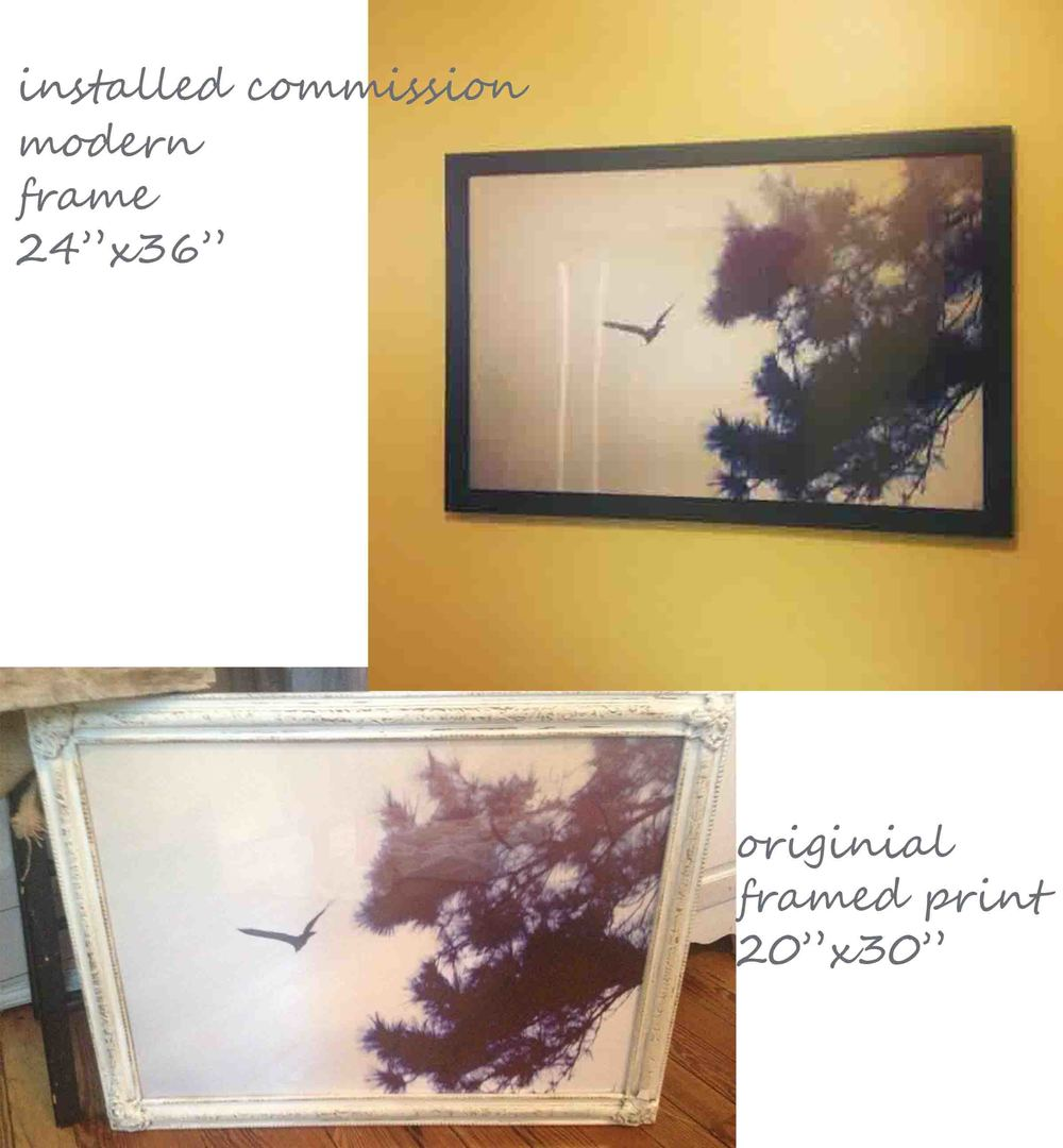 About my project.  My client loved the original framed piece I did for Pop Shop.  However, the room it was to be installed in is more modern in decoration and I wanted the frame to match others in the room.  I think it turned out great!  The original print is in an antique frame that I found at Heights Common Market on Yale in the Heights.  This store is one of my favorite treasures of Houston, they have great antique furniture, jewelry, lighting and surprises.  I refinished the frame I purchased in an antique whitewashed finish to make it look light and airy.  The commissioned print is framed in a newer frame from my favorite craft store, Hobby Lobby.