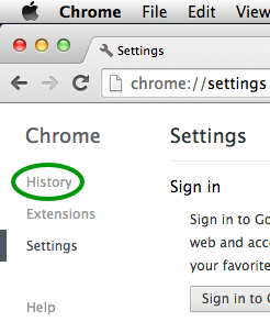 In the Chrome Preferences, click on History in the side bar.