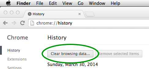 In the History page in Chrome Preferences, click on Clear browsing data...