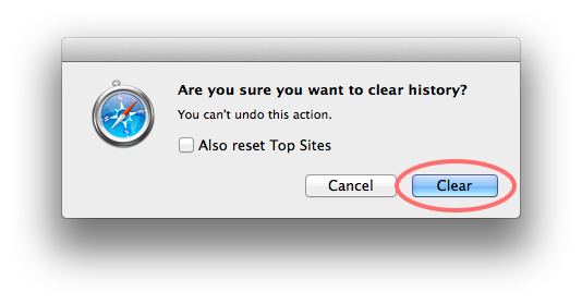 Click on the Clear button to finish clearing Safari's history.