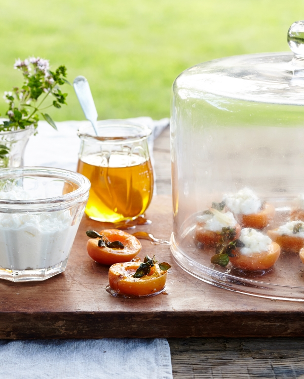 It all started at our little house with a big barn just outside of Hudson, NY.  The farmers market on Saturday mornings in Hudson is so inspiring that we had to make a meal to end all summer produce meals.  Starting with these yummy roasted apricots……...