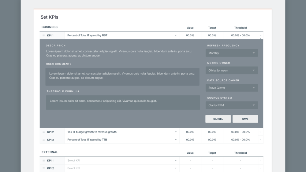 Apptio KPI Settings